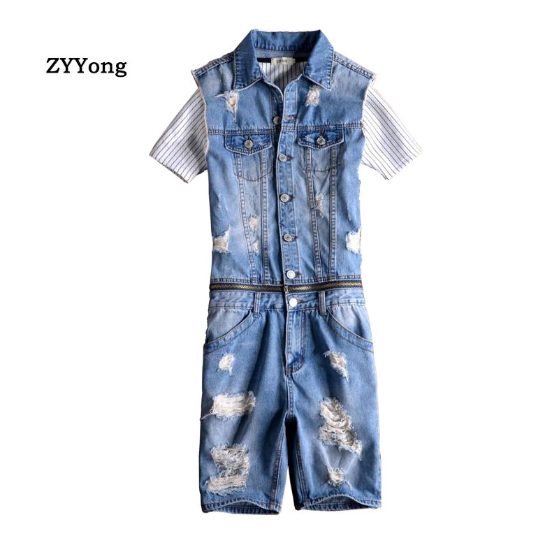 Summer Men's Sleeveless Denim Jumpsuit Hip-Hop Ripped Hole Jeans Shorts Removable Waist Casual Overalls Cargo Pants