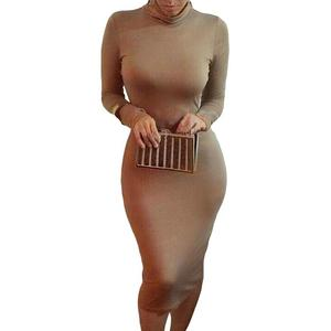 Party Clubwear Sexy Women Solid Color Turtle Neck Long Sleeve Bodycon Midi Dress Autumn Sexy Dress Female Elegant  Party Dress