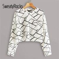 Свитер с геометрическим принтом SweatyRocks, женская уличная одежда, джемперы с круглым вырезом, топы, осень 2019, пуловер для активного отдыха, пов...