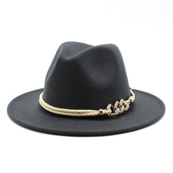 Black/white Wide Brim Simple Church Derby Top Hat Panama Solid Felt Fedoras Hat for Men Women artificial wool Blend Jazz Cap 15