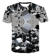 2020 sıcak satış yeni moda tişört geometrik kare T-shirt erkek T-shirt basit renk en 3D serin benzersiz güneş kare