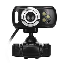 A2 LED Web Camera USB Webcam 360 Degree MIC Clip-On Web Cam for Youtube Computer PC Laptop Notebook Camera Black(China)