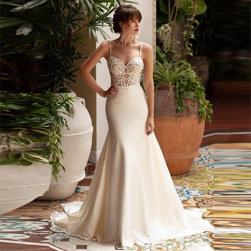 Eightree Mermaid Wedding Dresses 2020 Spaghetti Strap Backless Bride Dress Sweetheart Wedding Gowns Boho Mermaid Bride Dress