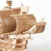Modèle à construire Jouet En Bois Puzzle Assemblage Modèle DIY Bateau À Voile Jouets 3D 4