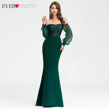Sexy Evening Dresses Ever Pretty EP00711DG Off Shoulder Long Sleeve Sequined Striped Mermaid Party Gowns Abiye Gece Elbisesi