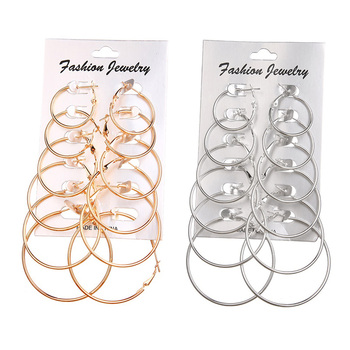 FNIO Oversize Big Circle Hoop Earring Set For Women Simple Punk Style Brincos Round Earrings Party Jewelry Gift 6 pair /lot image