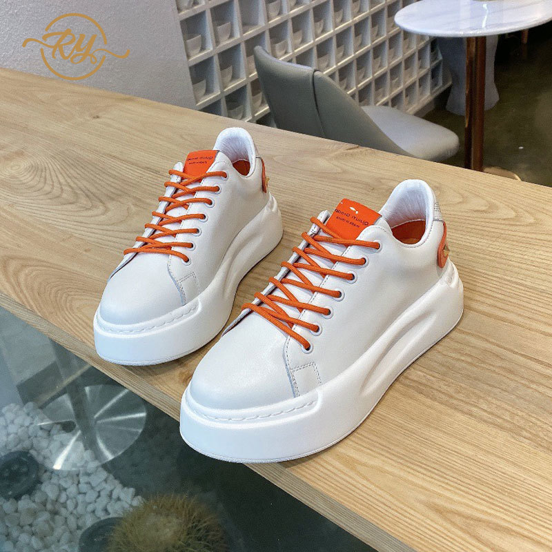 RY-RELAA Women Sneakers 2020 Fashion Genuine Leather Platform Sneakers Ins Womens Luxury Shoes White Sneakers Women Casual Shoes