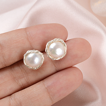 ASHIQI  Handmade Real 925 Sterling Silver Stud Earrings For Women Natural Freshwater Pearl Jewelry Gift