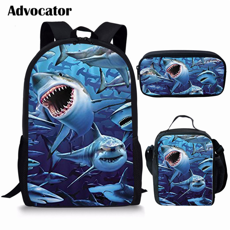 ADVOCATOR Shark/Dinosaur 3D Printing 3pcs/set School Backpacks For Kids Boys Girls Students Lunch Bags Daily Book Bag 2019