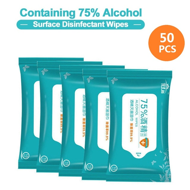 50PCS Portable Disinfection Antiseptic Pads Alcohol Swabs Wet Wipes Skin Cleaning Care Sterilization Cleaning Tissue