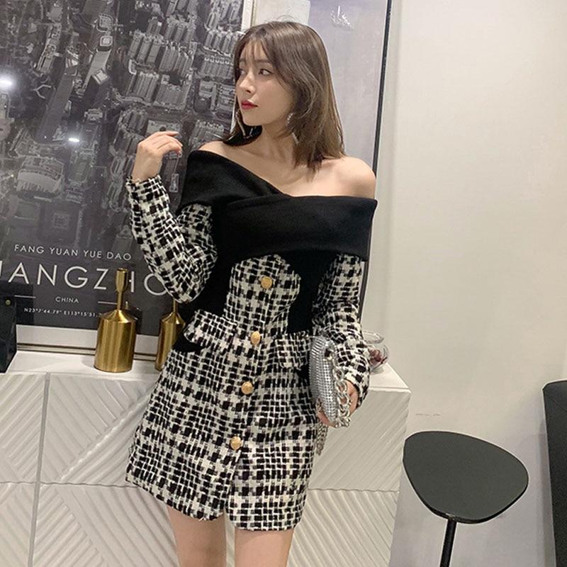 Nouvelle mode 2019 automne robe femmes Sexy épaules nues à manches longues Plaid Tweed élasticité rayé noir blanc épissé Mini robe