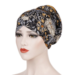 Image 5 - New Arrival Muslim Turban Chemotherapy Hat Back Disc The Head Cap Cotton Floral Print Inner Hijabs Bandage Headwear For Women
