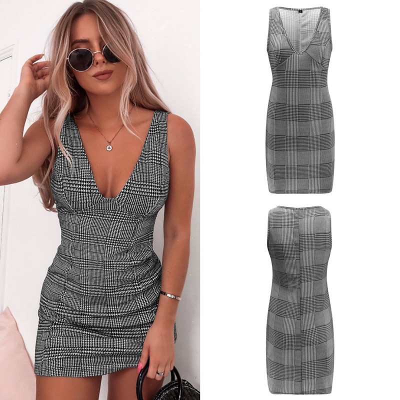 Plaid Deep V Neck Sexy Women Party Dress Fashion Sleeveless Casual Summer Dress 2019 New Plus Size Beach Vestidos Pencil Robe in Dresses from Women 39 s Clothing