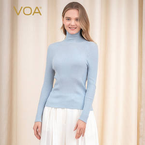VOA Silk Solid color Boss Straight 3D thread Long sleeve Pullover women RL1128
