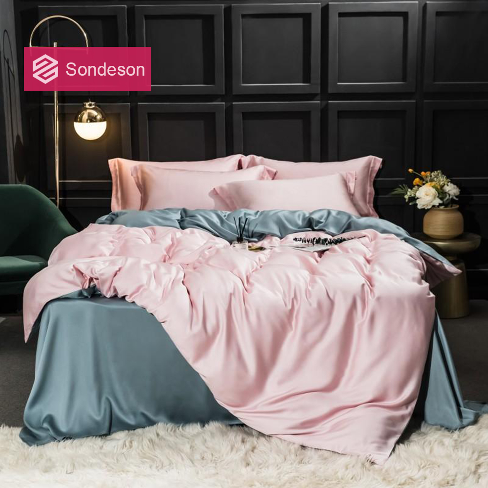 Sondeson Women 100% Silk Beauty Bedding Set 25 Momme Duvet Cover Set Flat Sheet Bed Linen Pillowcase For Gift Bed Set 4pcs