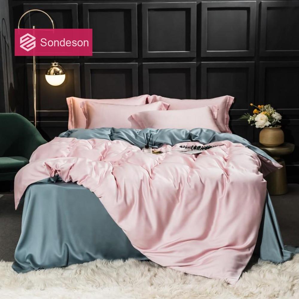 Sondeson Women 100% Silk Beauty Bedding Set 25 Momme Duvet Cover Set Flat Sheet Bed Linen Pillowcase For Gift Bed Set 4pcs