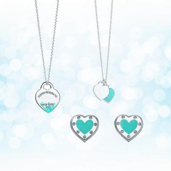 Sterling Silver 925 Classic Fashion Exclusive Blue Enamel Heart Shaped Lady Necklace Set Ornament Holiday Gift