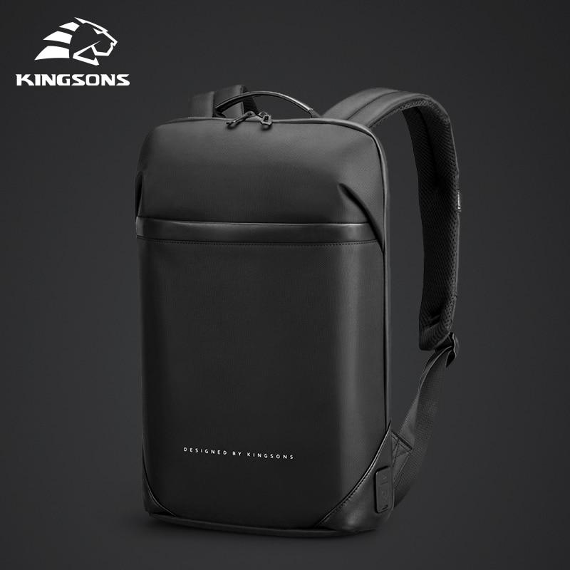 Kingsons Slim Laptop Backpack Men 15.6 Inch Office Work Men Backpack Business Bag Unisex Black Ultralight Backpack Thin Mochila
