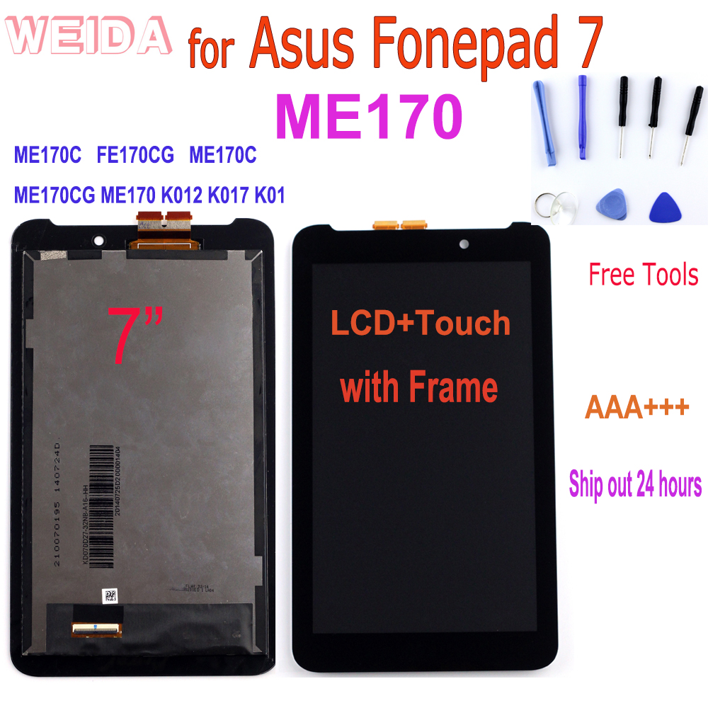 7'' For Asus MeMO Pad 7 ME170 ME170C K012 K017 K01 LCD Display Touch Screen Digitizer Assembly With Frame Replacement Tablet PC