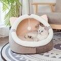 Warme Gemütliche Haustier Bett Hund & Katze Betten Haus Winter Schlafsack Tragbare Indoor Nest Welpen Zelt mit Abnehmbare Kissen faltbare