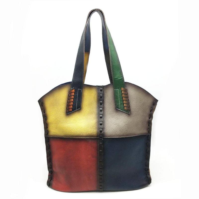 Vintage First Layer Cow Leather Women Bag 2020 New Casual Large Capacity Handbag Random Color Stitching Shoulder Bags