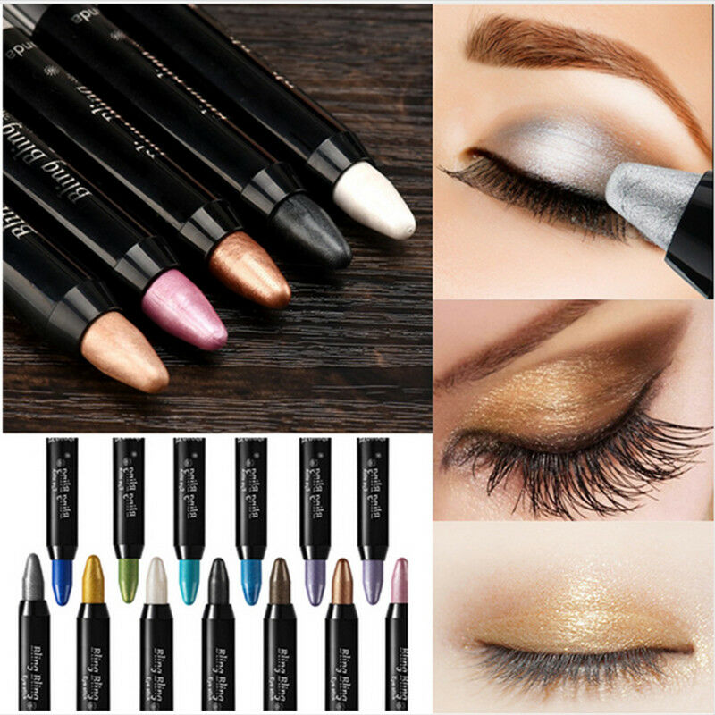 Women Waterproof Highlighter Eyeshadow Pencil Cosmetic Glitter Eye Shadow Eyeliner Pen Eyebrow Color Pencil Easy To Wear