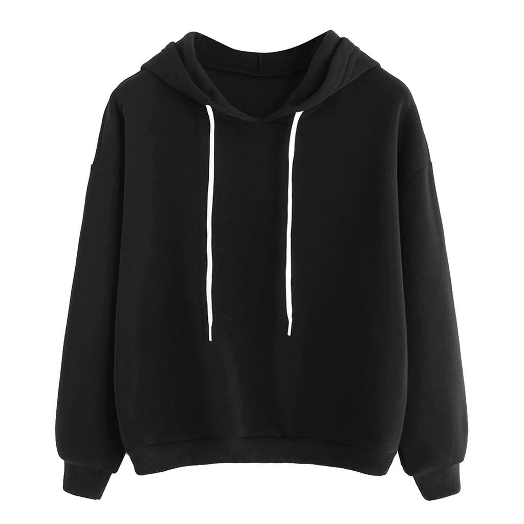 Hoodies Women Solid Black Fashion Sweatshirt Women Long Sleeve Winter Women Clothes Gothic Streetwear Harajuku Hoodie Moletom
