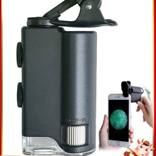 Glass Magnifying Cell-Phone-Clip Pocket Microscope With Uv-Light Identification 60X/100X