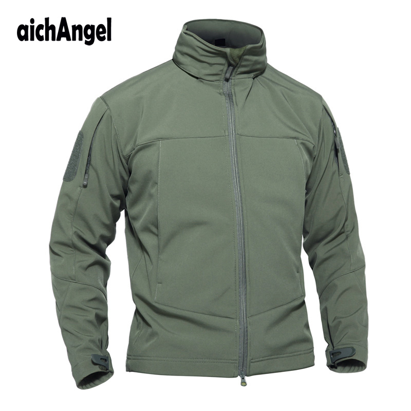 Tactical Soft Shell Jacket Men Spring Waterproof Hooded Jacket Autumn Thin Military Jacket Outerwear Army Coat