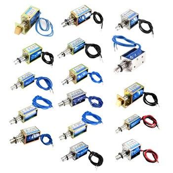 Uxcell 1pc 10mm Solenoid Electromagnet Pull Push Type Open Frame Linear Motion DC 6V 12V 24V Plunger Spring Return