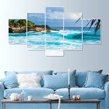 Laeacco Canvas Calligraphy Paintings Pictures for Living Room Home Decor 5 Panel Island Sea View Posters and Prints