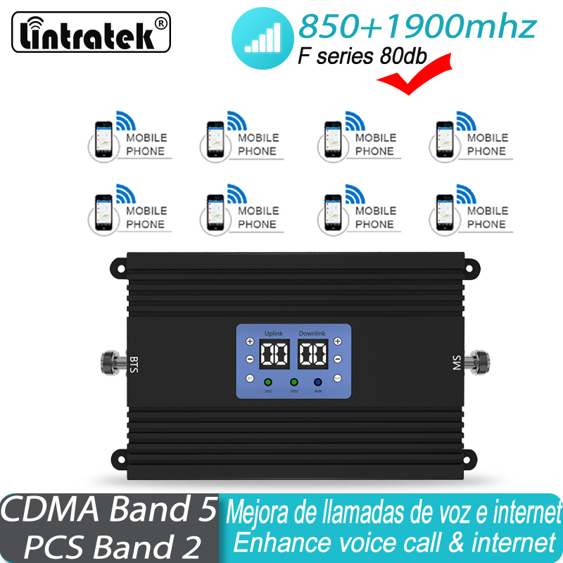 Signal Booster CDMA GSM 850 1900 Mhz 2G 3G Repeater UMTS Cell Amplifier Dual Band GSM 3G LTE  Cellular Mobile Signal Repeater