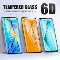 6D la cubierta de vidrio templado para Huawei Y7A P40 P30 P20 Pro amigo 20 Lite Nova 5T 7i 3 P Smart Plus 2019 pantalla cristal Protector