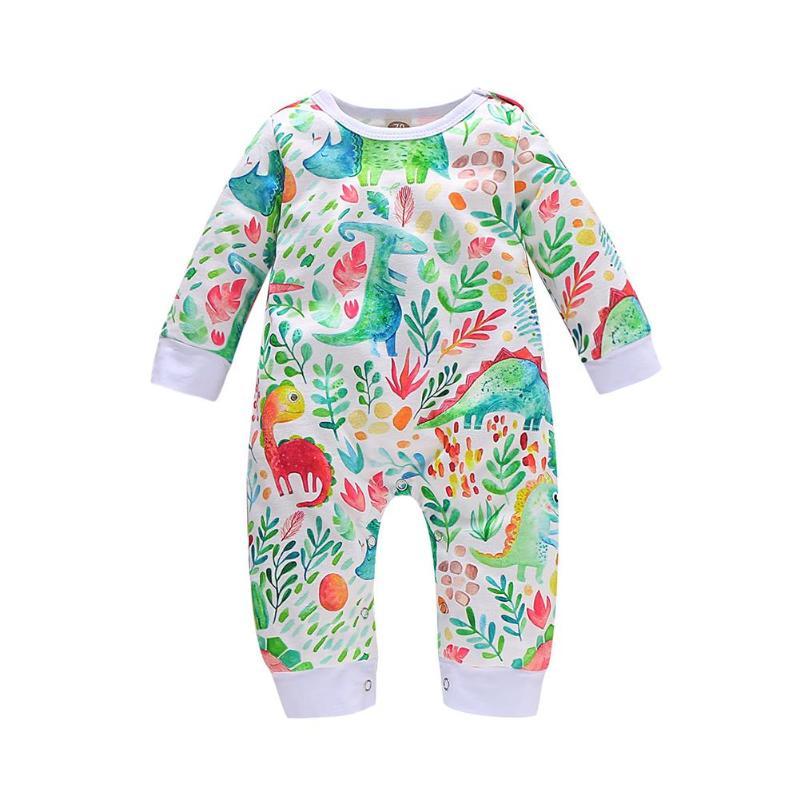 Комбинезоны для малышей; хлопковый комбинезон с круглым воротником и длинными рукавами с рисунком животных; пляжный костюм для мальчиков и девочек; домашняя одежда для отдыха - Цвет: Green A