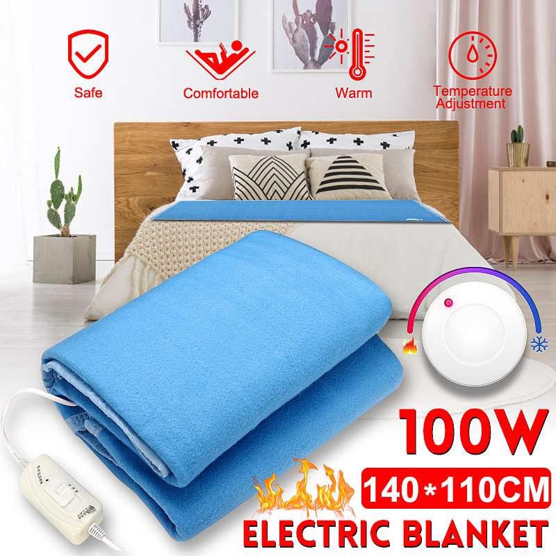 140x110cm 100W Electric Blanket Heater Single Body Warmer Heated Blanket Thermostat Electric Heating Blanket Winter Warming Pad