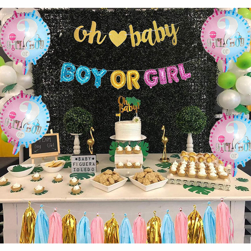 Boy Or Girl Gender Reveal Party Decorations Suit Baby Shower Foil Letter Balloons Oh Baby Banner Pink Blue Tassels Accessories