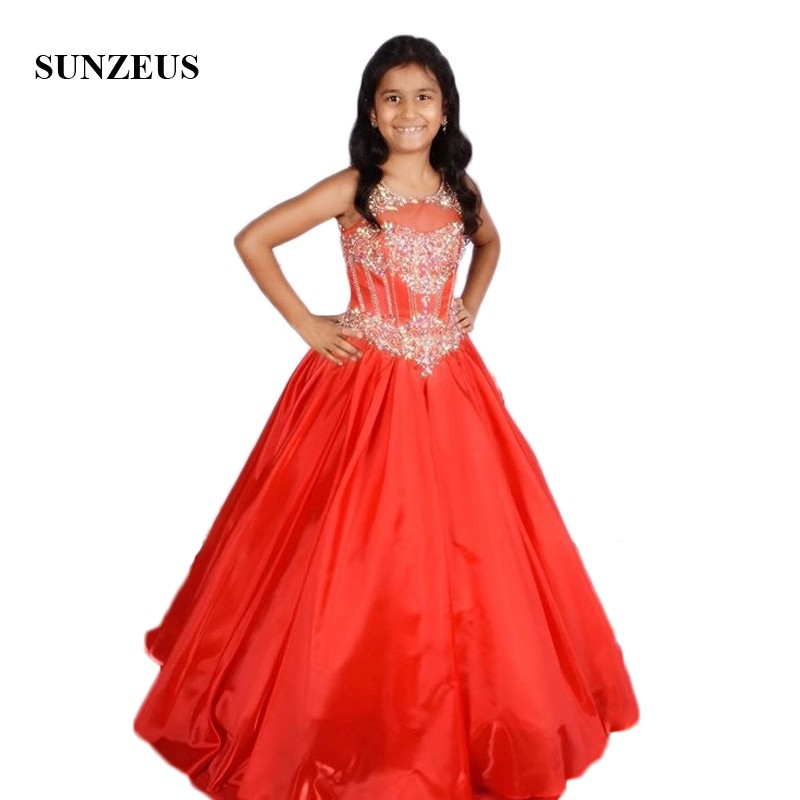 Stunning Beaded Sequins Red   Flower     Girls     Dresses   2019 Scoop Tank A-Line   Girls   Pageant Party Gowns Open Back vestido floreado