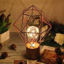 Lámpara de mesa de Decoración Retro de hierro de arte LED lámpara de alambre de cobre luz de noche decoración del hogar regalos Luz de mesa de noche con de la batería