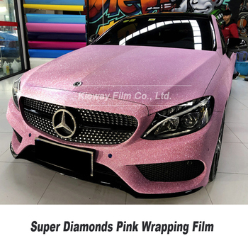 Highest quality pink Vinyl Wrapping film super Diamonds vinyl wrap pink folie Bubble Free low initial tack adhesive 5m/10m/18m image