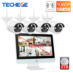 """Techege 8CH Wireless 1080P NVR Kit HD 12"""" LCD Monitor Security 2MP Two ways Audio WIFI camera CCTV Camera System APP remote(China)"""