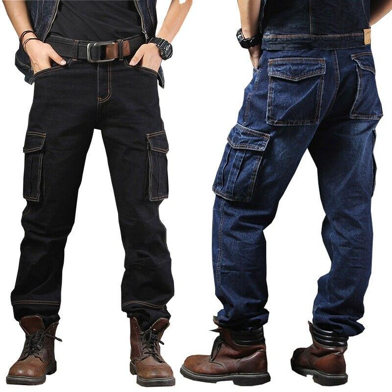 Mens Jeans Denim Pants Casual Cargo Pockets Combat Work Pants Tactical Trousers