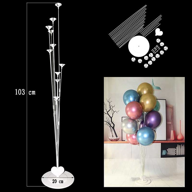 7/11 Tubes Balloons Holder Column Stand Clear Plastic Balloon Stick Birthday Party Decoration Kids Wedding Balloons Decor