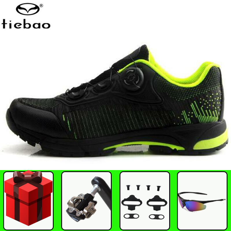TIEBAO leisure cycling shoes SPD Pedals set men sneakers mountain bike self-locking sapatilha ciclismo mtb bicycle riding shoes