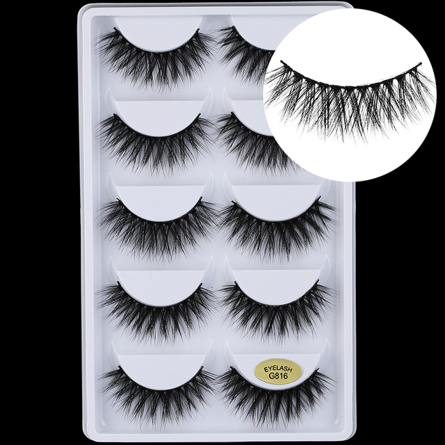 5 pairs 5D Mink Eyelashes Natural False Eyelashes Lashes Soft Fake Eyelashes Extension Makeup Wholesale 2