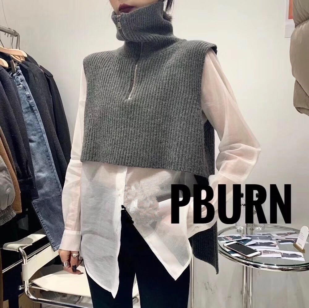 Cool Turtleneck Zipper Knitted Vest Thin Perspective Shirt Two Piece Suit New Girls Pullover Winter Short Knitted Women Sweater