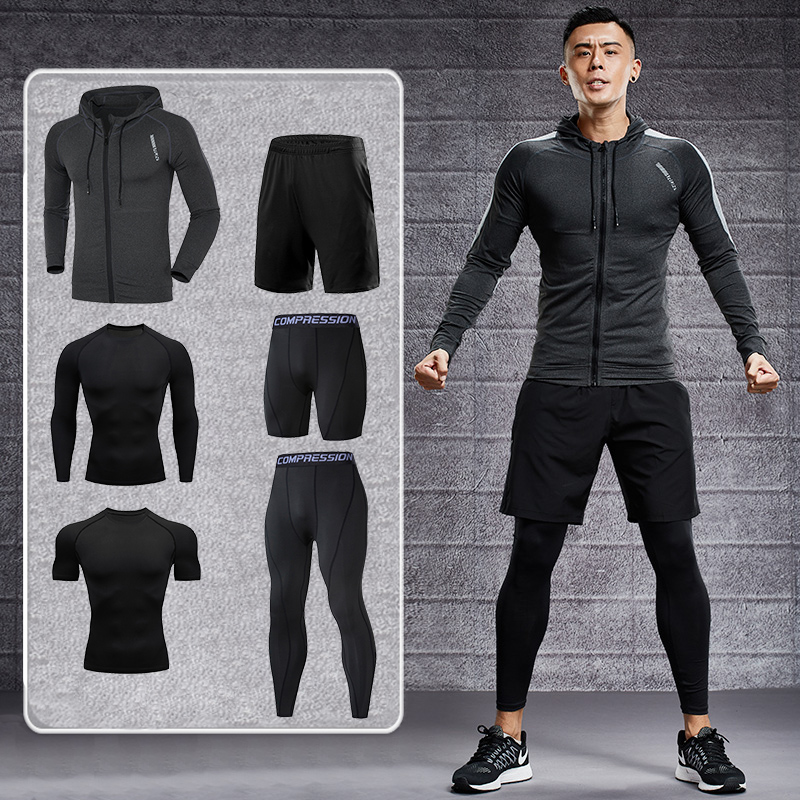 Dry Fit Men's Training Sportswear Set Gym Fitness Compression Sport Suit Jogging Tight Sports Wear Clothes 4XL5XL Oversized Male 1