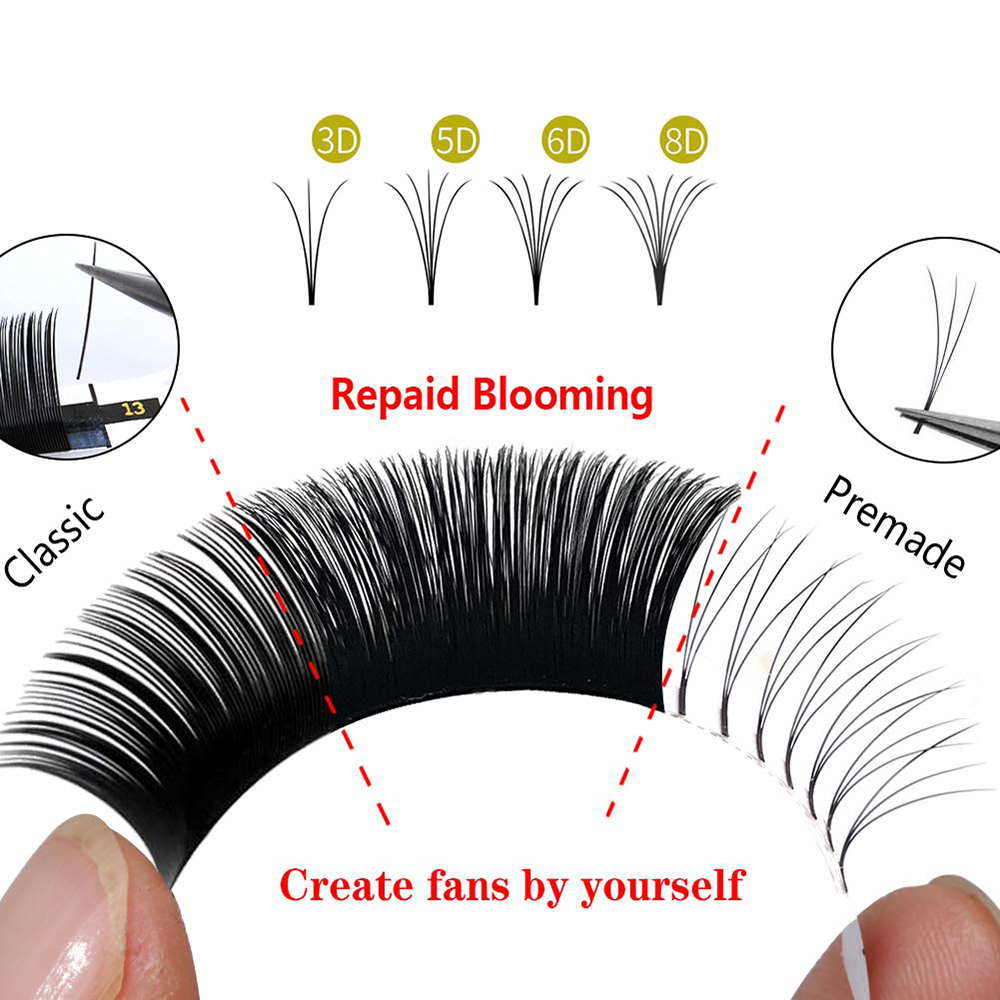 Easy Fans Lashes Volume Eyelashes Extension Auto Blooming Eyelash Automatic Flowering Natural Soft Faux Mink Lash Fast Fanning