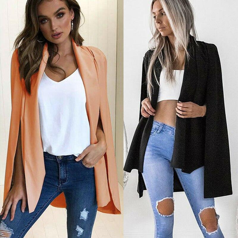 2019 Women Solid Long Sleeve Poncho Cape Coat Jacket Blazer Suit Shawl Cloak Cardigan Outwear Coat