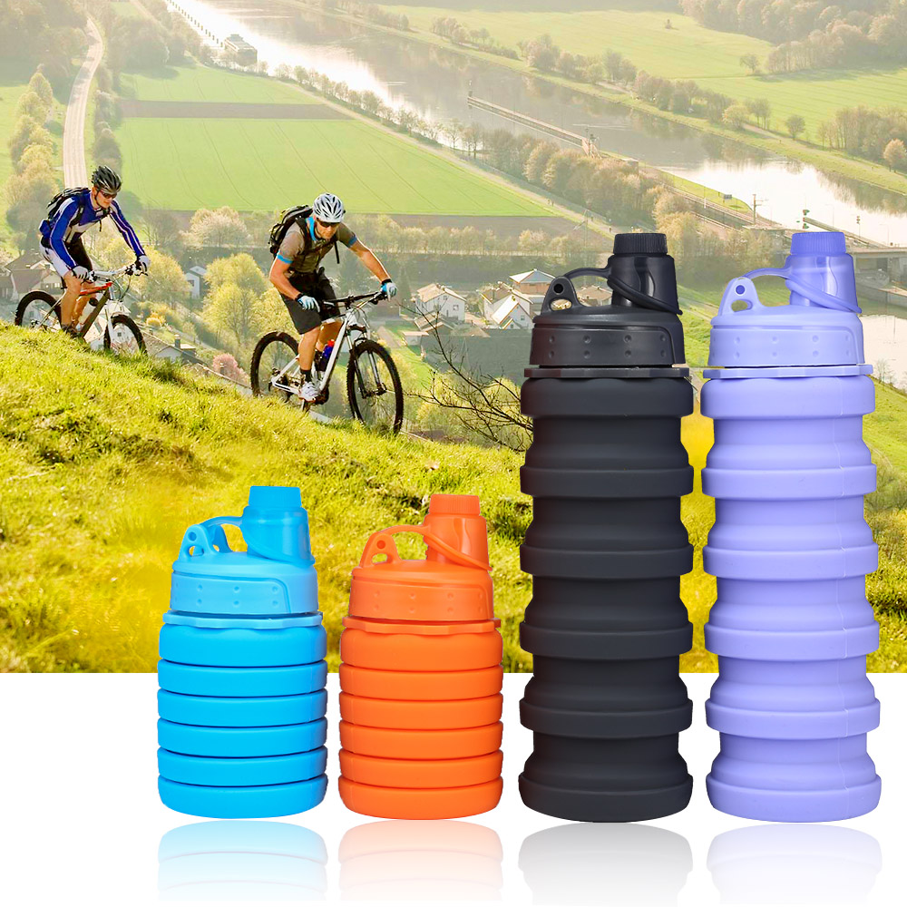 H16d3fbed6ec6417088bad191cdd2826dK 500ML Portable Silicone Water Bottle Retractable Folding Coffee Bottle Outdoor Travel Drinking Collapsible Sport Drink Kettle