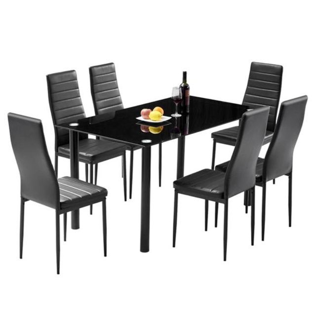 Dining Table Set Simple Round Tube Table Leg Table + 6pcs Elegant Stripping Texture High Backrest Dining Chairs Black[US-Stock] 1